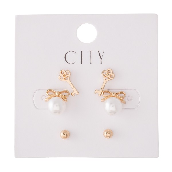 Pearl Bow Stud Earring Set Featuring Key Studs, Pearl Bows & Ball Studs in Gold.  - 3 Pair Per Set  - Approximately 2mm - 1cm