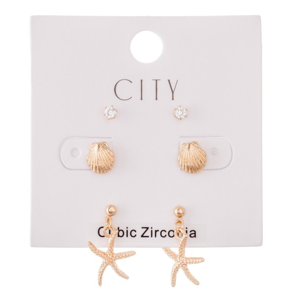 Cubic Zirconia Seashell Stud Earring Set in Gold.  - 3 Pair Per Set - Approximately 2mm - 1cm