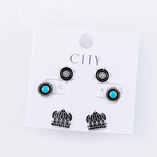 Royal Turquoise Boho Stud Earring Set in Antique Silver.  - 3 Pair Per Set - Approximately 1cm