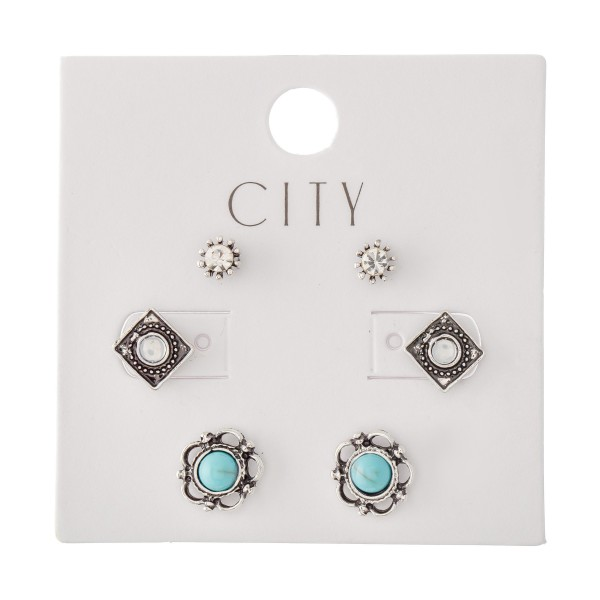 Turquoise Boho Stud Earring Set in a Antique Finish.  - 3 Pair Per Set - Approximately 7mm - 1cm