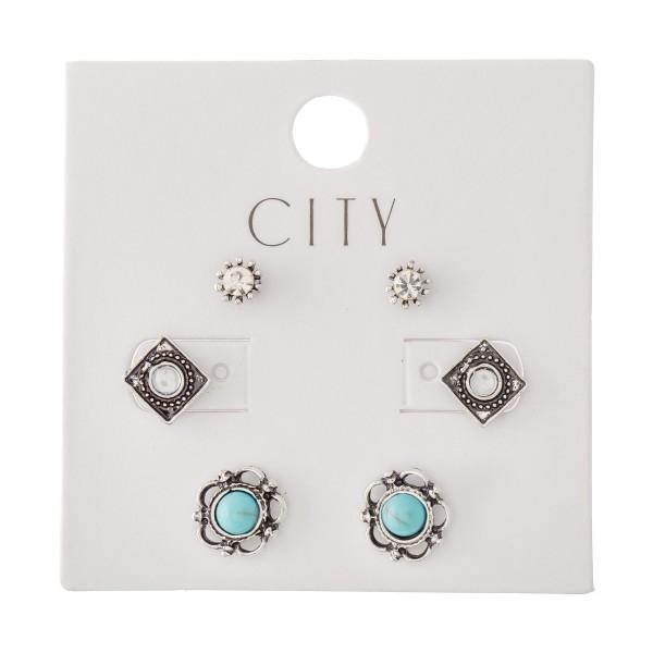 Wholesale turquoise Boho Stud Earring Set Antique Finish Pair Per Set mm cm