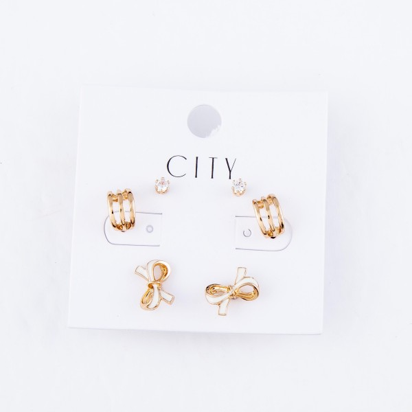 Stud Earring Set Featuring Rhinestones, Bows & Huggie Hoops in Gold.  - 3 Pair Per Set - Approximately 4mm - 1cm