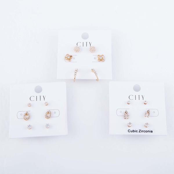 "Rhinestone Flower Pearl Earring Set Featuring Pearl Studs, Flowers & Rhinestone Hoops in Gold.  - 3 Pair Per Set - Approximately 1cm  - .5"""