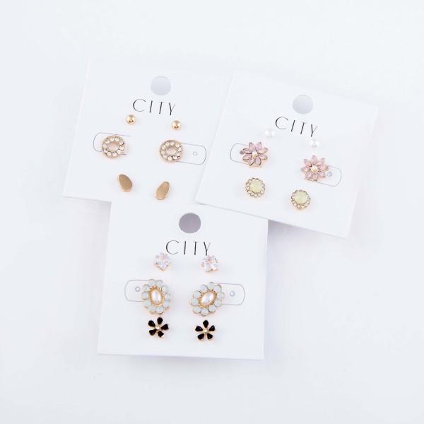 Opal Flower Stud Earrings Set Featuring Rhinestones, Opal Pearls & Flowers in Gold.  - 3 Pair Per Set - Approximately 5mm - 1cm