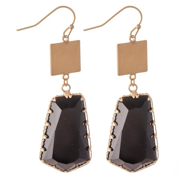 """Crystal Drop Earrings Featuring a Gold Accent.  - Approximately 2.25"""" L"""