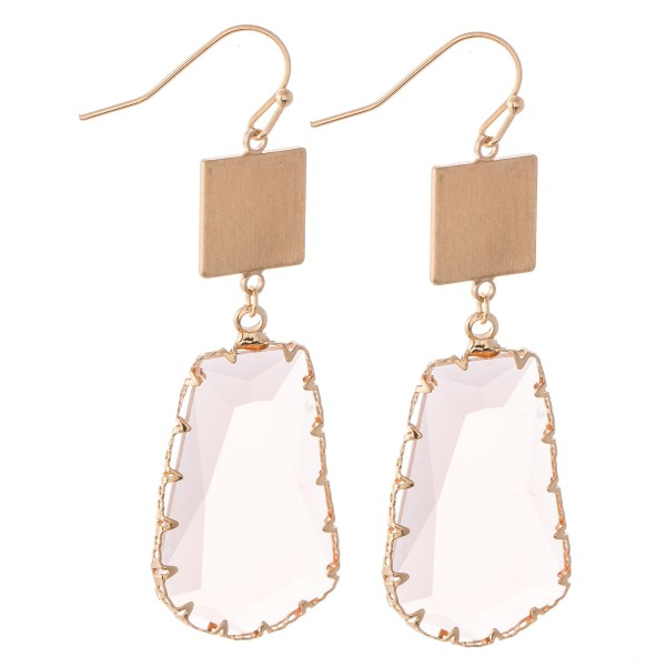 """Crystal Clear Drop Earrings Featuring a Gold Accent.  - Approximately 2.25"""" L"""