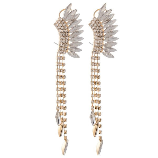 "Angel Wing Crystal Cuff Statement Earrings.  - Approximately 4"" L"