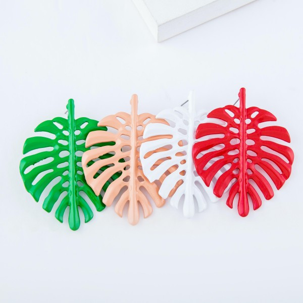 "Enamel Coated Statement Palm Leaf Earrings.  - Approximately 2.25"" L"