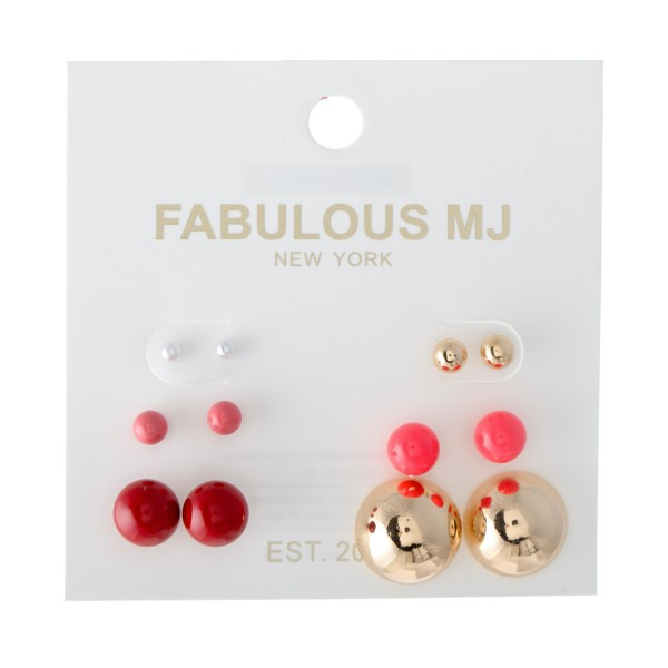 Ball Stud Earring Set Featuring Enamel Coating Details.  - 6 pair per set - Approximately 3mm - 16mm