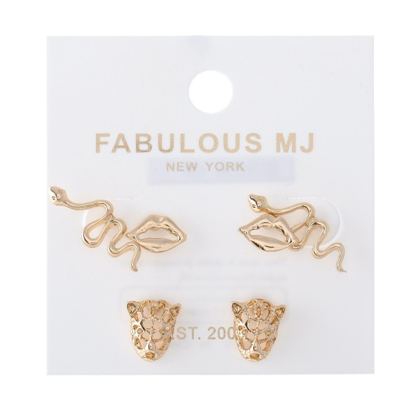"""Stud Earring Set of Three Featuring Snakes, Lips & Tigers in Gold.  - 3 pairs per set - Approximately 1cm - .75"""""""