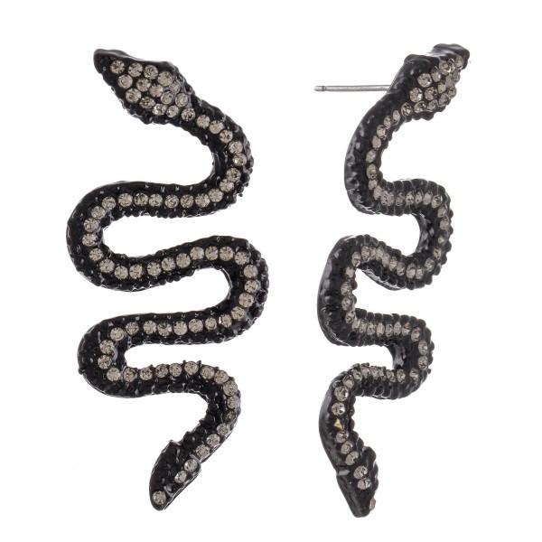 """Enamel Coated Rhinestone Snake Drop Earrings.  - Approximately 2"""" L"""
