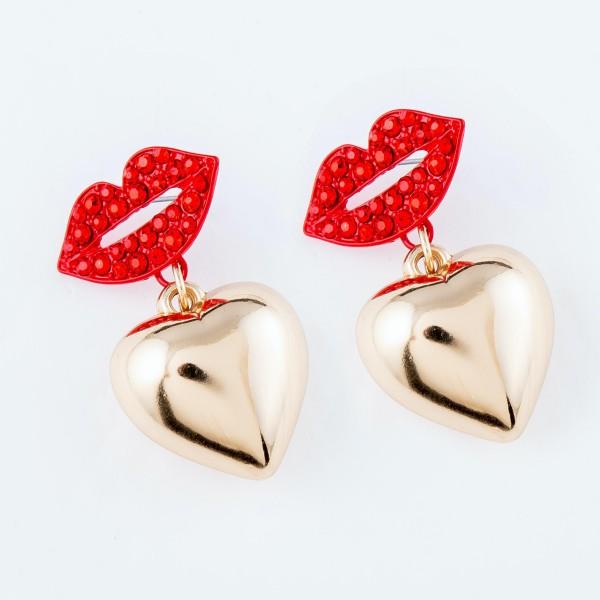 """Rhinestone Lip Heart Filled Drop Earrings.  - Approximately 1.5"""" L"""