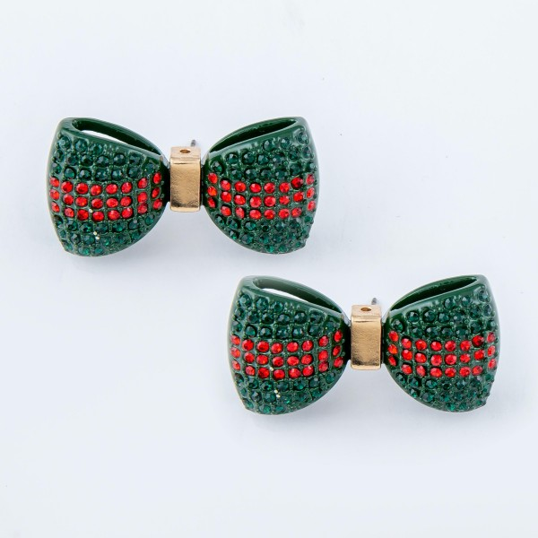 "Oversized Enamel Coated Rhinestone Bow Stud Earrings.  - Color: Green & Red - Approximately 1.25"" W"
