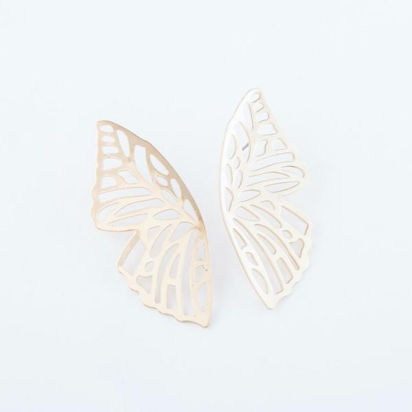 "Oversized Filigree Butterfly Wing Earrings in Gold.  - Approximately 2.5"" L"