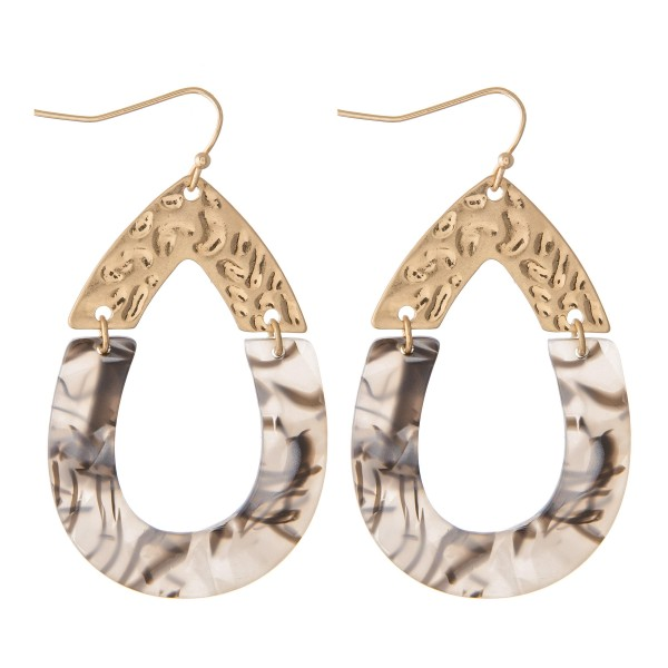 Marble Resin Link Teardrop Earrings.