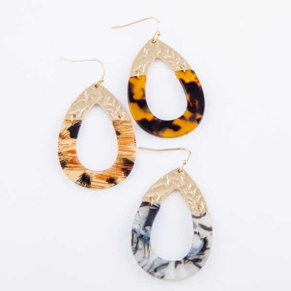 Leopard Resin Link Teardrop Earrings.