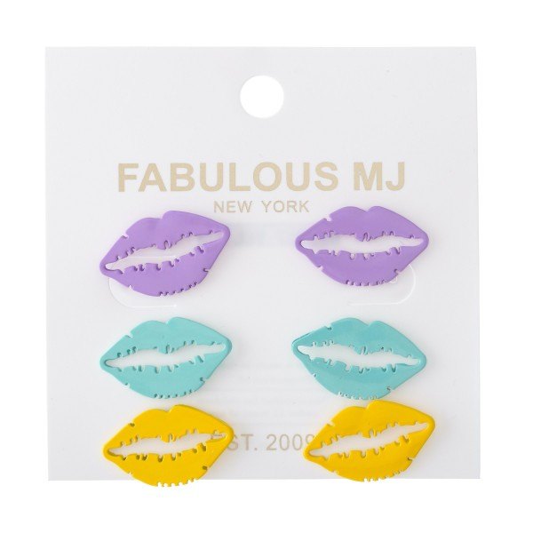 "Enamel Coated Lip Stud Earring Set.  - 3 pair per set - Approximately 1"""