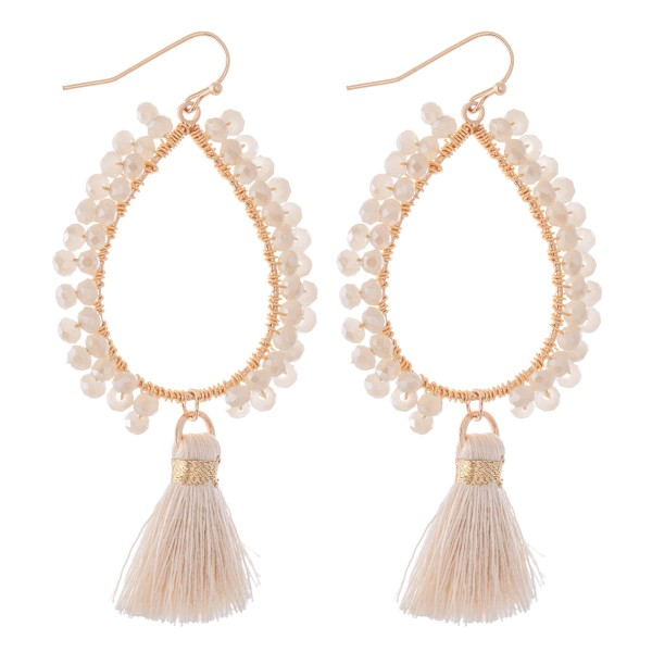 "Beaded Teardrop Tassel Drop Earrings.  - Approximately 2.75"" L"