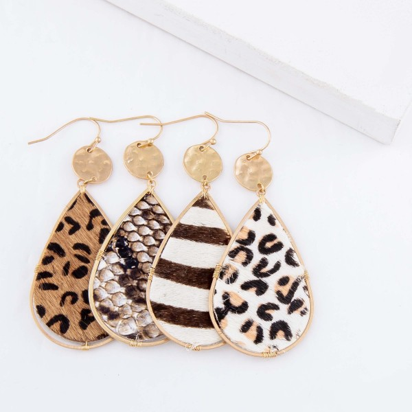 "Hammered Faux Leather Snakeskin Teardrop Earrings.  - Approximately 3"" L"