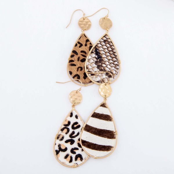 "Hammered Zebra Print Cow Hide Teardrop Earrings.  - Approximately 3"" L"