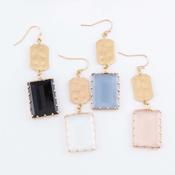 "Hammered Crystal Drop Earrings in Gold.  - Approximately 2.5"" L"