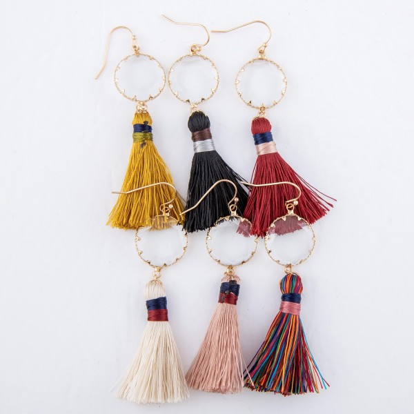 """Crystal Clear Thread Wrapped Tassel Drop Earrings.  - Approximately 3"""" L"""