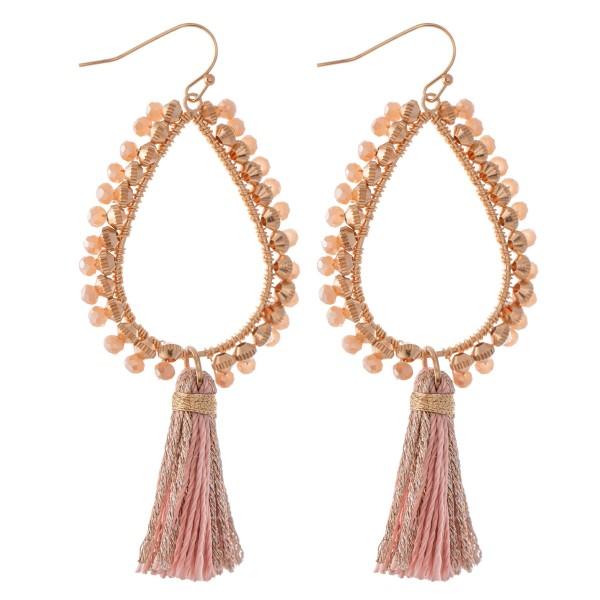 """Beaded Teardrop Thread Tassel Earrings.  - Approximately 3.25"""" L"""