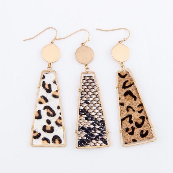 "Leopard Print Cow Hide Drop Earring in Gold.  - Approximately 3"" L"