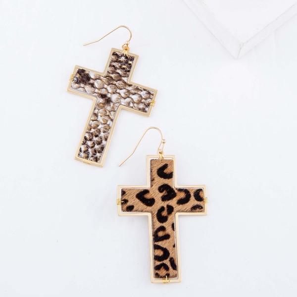 """Faux Leather Snakeskin Cross Drop Earrings.  - Approximately 3"""" L"""