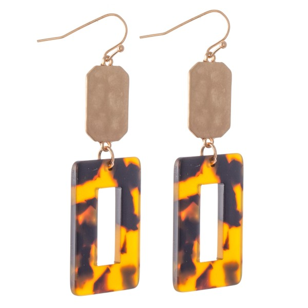 Hammered Tortoise Shell Drop Earrings in Gold.  - Approximately 2.25 L