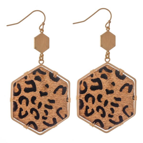 """Leopard Print Cow Hide Hexagon Drop Earrings.   - Approximately 2.5"""" L"""