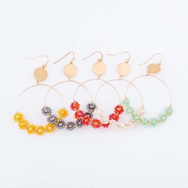 """Flower Beaded Drop Earrings in Gold.  - Approximately 2.5"""" L"""