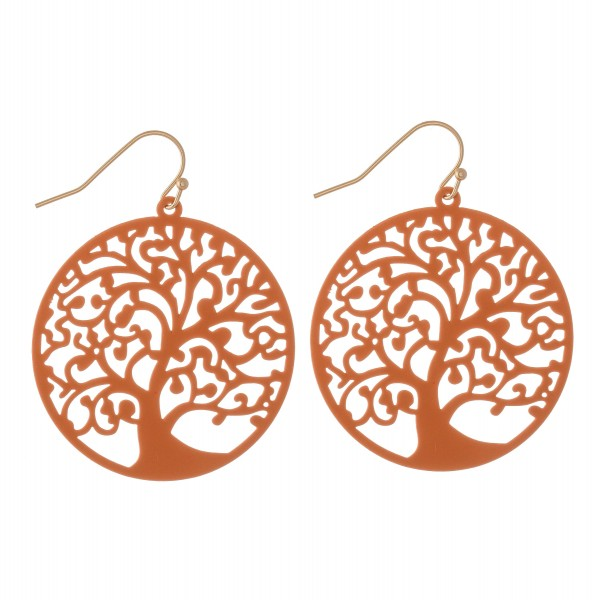 """Coated Filigree Tree of Life Drop Earrings in a Matte Finish.  - Approximately 2"""" L  - 1.5"""" in diameter"""