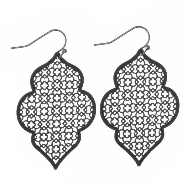 "Coated Filigree Quatrefoil Drop Earrings in a Matte Finish.  - Approximately 2"" L"