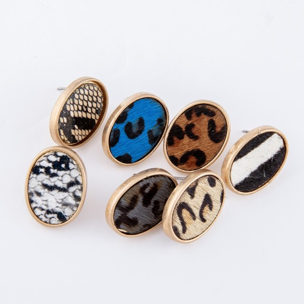 "Faux Leather Snakeskin Oval Stud Earrings.  - Approximately .75"" L"