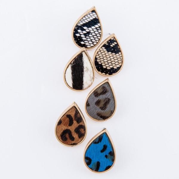 """Faux Leather Snakeskin Teardrop Stud Earrings.  - Approximately .75"""" L"""