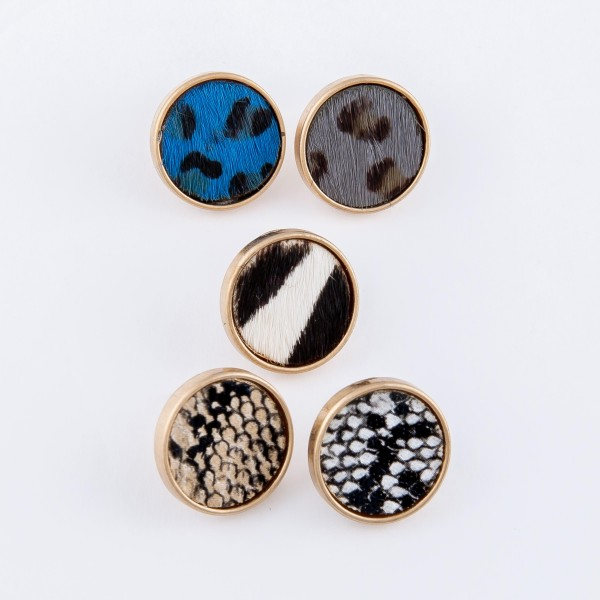 Genuine Leather Leopard Print Cow Hide Button Stud Earrings.  - Approximately 15mm in diameter