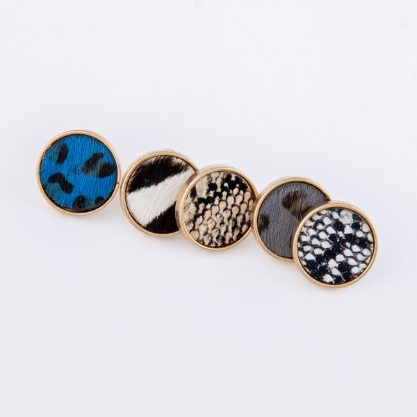 Genuine Leather Zebra Print Cow Hide Button Stud Earrings.  - Approximately 15mm in diameter