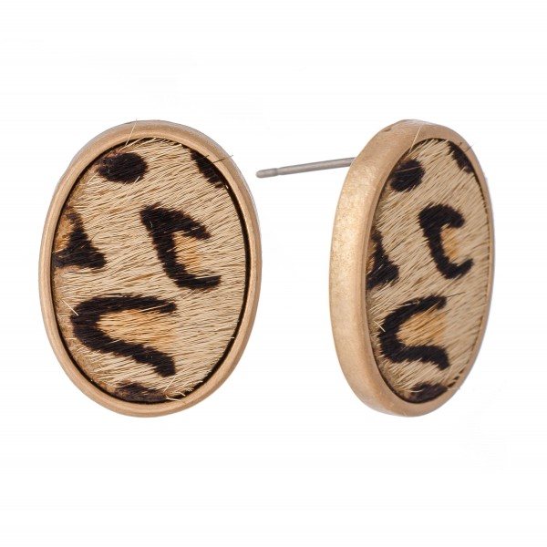 Wholesale genuine Leather Leopard Print Cow Hide Oval Stud Earrings L