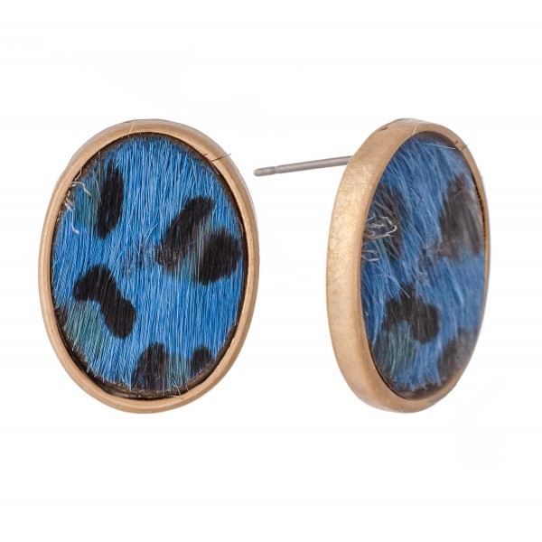 "Genuine Leather Leopard Print Cow Hide Oval Stud Earrings.  - Approximately .75"" L"