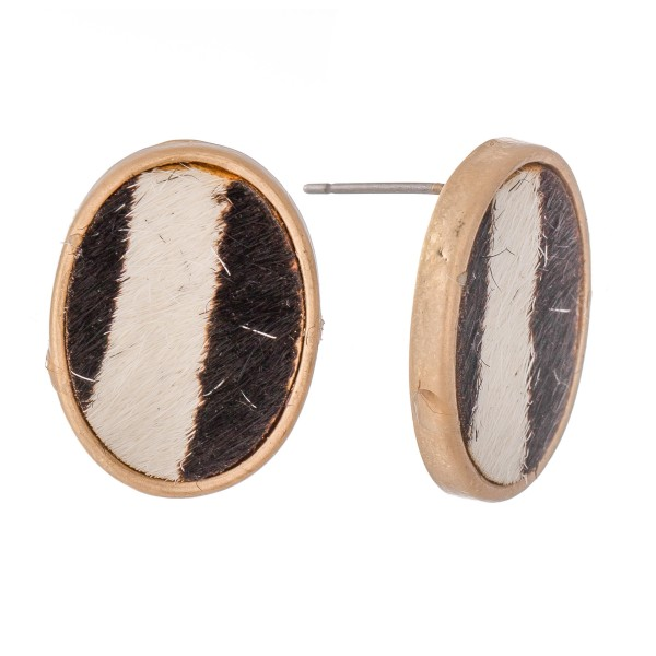 "Genuine Leather Zebra Print Cow Hide Oval Stud Earrings.  - Approximately .75"" L"
