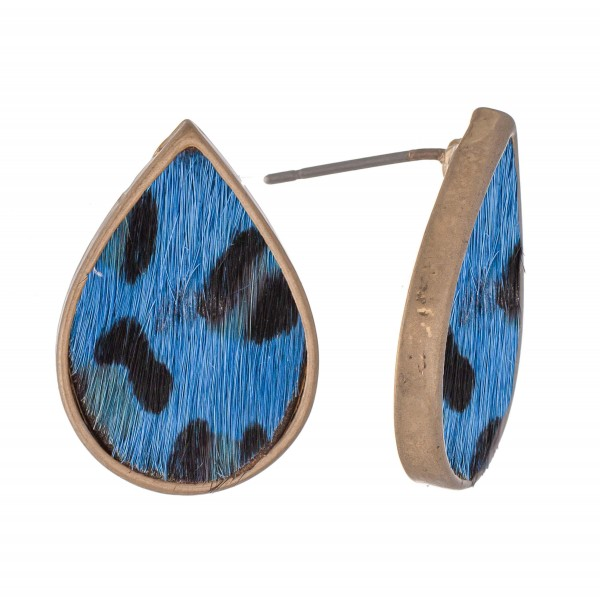 """Genuine Leather Leopard Print Cow Hide Teardrop Stud Earrings.  - Approximately .75"""" L"""