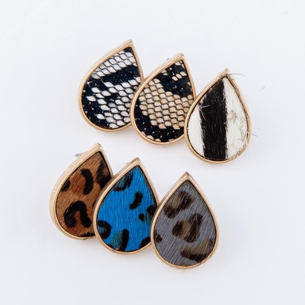 "Genuine Leather Leopard Print Cow Hide Teardrop Stud Earrings.  - Approximately .75"" L"