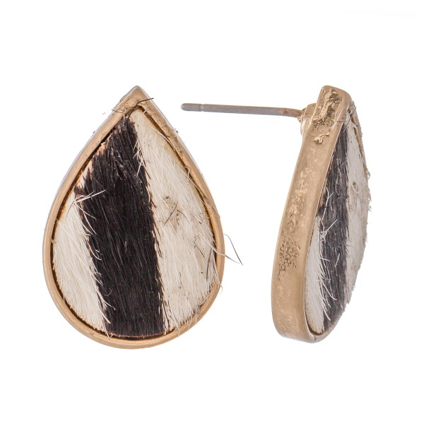 "Genuine Leather Zebra Print Cow Hide Teardrop Stud Earrings.  - Approximately .75"" L"