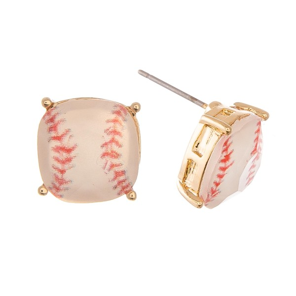 Baseball Glass Stud Earrings in Gold.  - Approximately 11mm