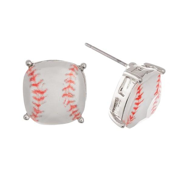 Baseball Glass Stud Earrings in Silver.  - Approximately 11mm