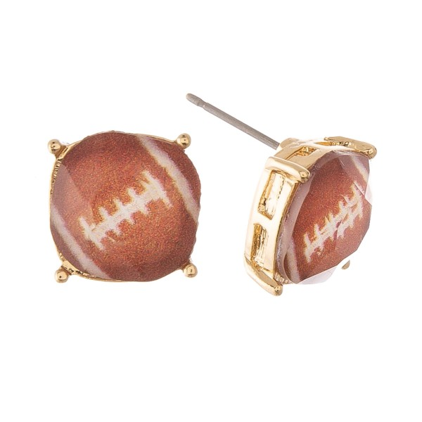 Football Glass Stud Earrings.  - Approximately 11mm