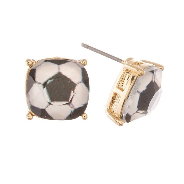 Soccer Ball Glass Stud Earrings.  - Approximately 11mm