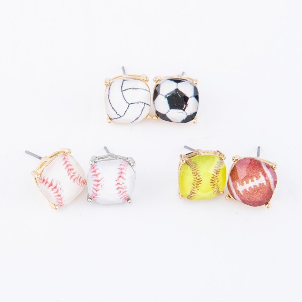 VolleyBall Glass Stud Earrings.  - Approximately 11mm