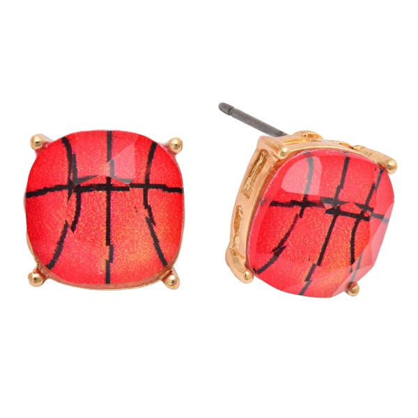 Basketball Stud Earrings in Gold.  - Approximately 12mm in Size